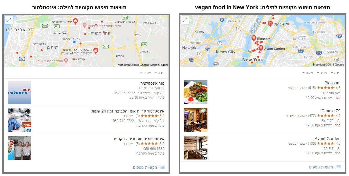 גוגל לעסק שלי - איך זה נראה בתוצאות החיפוש
