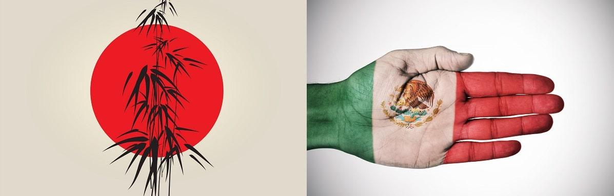 דגלי יפן ומקסיקו במצג לא שגרתי